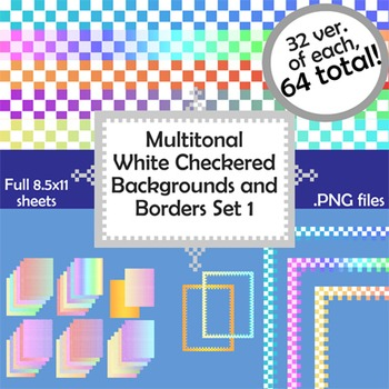 Multi-tonal Checkerboard Backgrounds and Borders Set 1