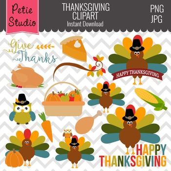 Multicolor Feathers Turkey Clipart, Thanksgiving Clipart -