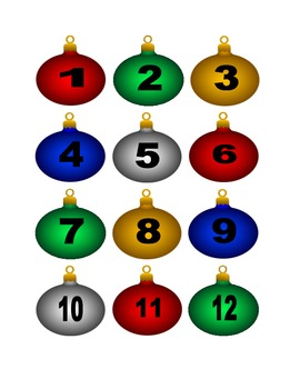 Multicolored Christmas Ornament Numbers for Calendar or Co
