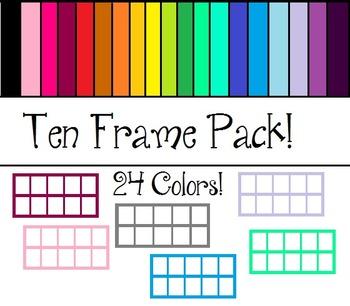 Multicolored Ten Frames! 24 Colorful Frames!