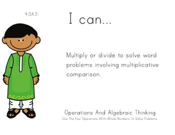 Multicultural Theme 4th grade math Common Core Posters fou