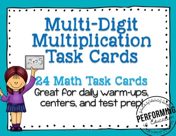 Multidigit Multiplication Task Cards Grades 4-5 Common Cor
