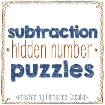 Multidigit Subtraction Hidden Number Puzzles