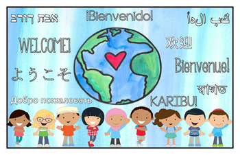 Multilingual Classroom Welcome Sign - Blue