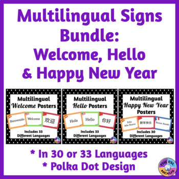 BUNDLE of Multilingual Posters for Classroom Decor: Polka