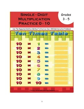 Multipication Practice Workbook with Repeated Addition