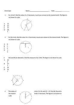 Short Answer Circle Quiz
