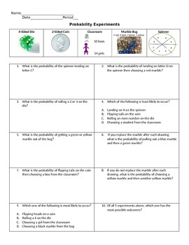 Probability Practice with Experiments. (Free response and