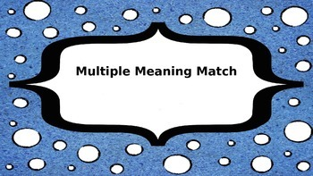 Multiple Meaning Card Match