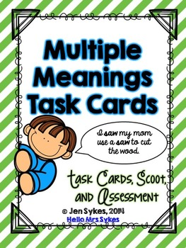 Multiple Meaning Words Task Cards, Scoot Game, and Quick A