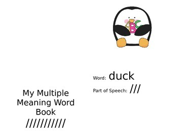 Multiple Meaning Word Book