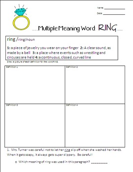 Multiple Meaning Word- Ring