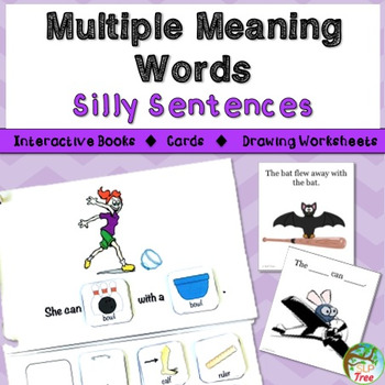 Multiple Meaning Words Silly Sentences: Interactive Books,