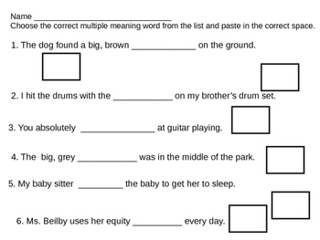 Multiple Meaning Words 1