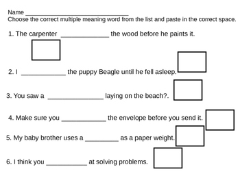 Multiple Meaning Words 2
