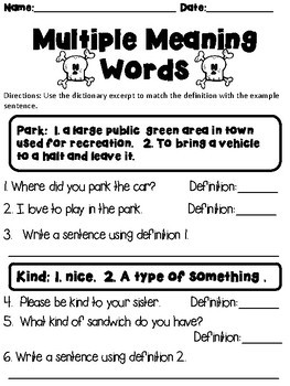 Multiple Meaning Words Practice and Application