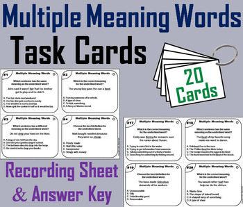 Multiple Meaning Words Task Cards 3rd 4th 5th 6th Grade Ho