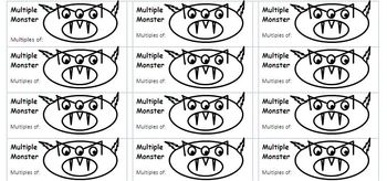 """""""Multiple Monster"""" stickers for Interactive Math Notebooks - FREE"""