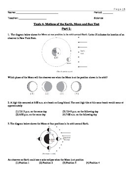 Multiple ONLY Choice Moon, Tides and Eclipses Test