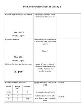 STEM/NGSS: Multiple Representations of Density Exercise #2