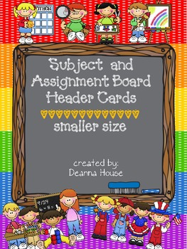 Multiple Subject Header Cards  Smaller Size