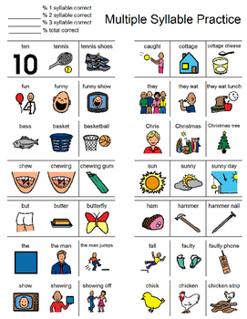 Multiple Syllable Practice