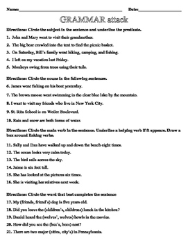 Multiple skill grammar test- nouns, verbs, adverbs, adjectives