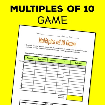 Multiples of 10 Game! Freebie! Multiplying and Dividing Mu