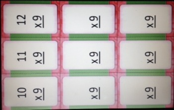 Multiples of 9 FLASH CARDS w/o answers