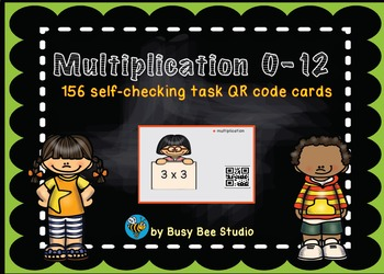 Multiplication 0-12 QR code cards