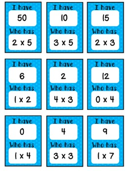 """Multiplication 0-5 """"I Have...Who Has?"""""""