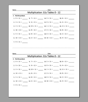 Multiplication: 11s Tables 0 - 12