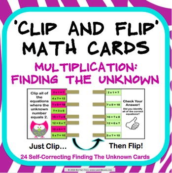 Multiplication Task Cards: Unknown in Multiplication Facts