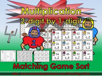 Multiplication: 2-digit by 1-digit Matching Game Sort - Fo