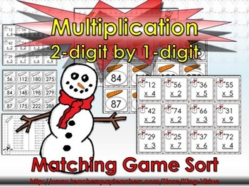 Multiplication: 2-digit by 1-digit Matching Game Sort - Wi