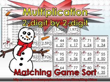 Multiplication: 2-digit by 2-digit Matching Game Sort - Wi