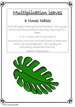 Multiplication 4 x tables