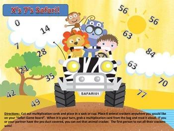 Multiplication 7's Times Table Facts Safari Animal Cracker