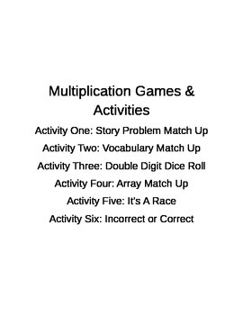 Multiplication Activities & Games