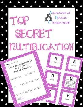 Multiplication Activity: Decode Secret Code-2 Digit x 1 an