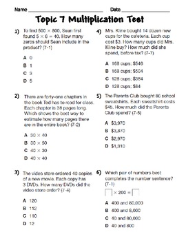 Multiplication Assessment CCSS 4.NBT.5