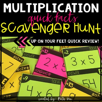 Multiplication Basic Facts Scavenger Hunt