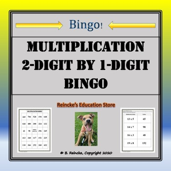 Multiplication Bingo 2-Digit by 1-Digit (30 pre-made cards!!!)
