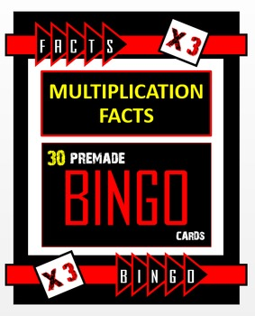 Multiplication Bingo - Times 3 Facts (30 pre-made cards, f