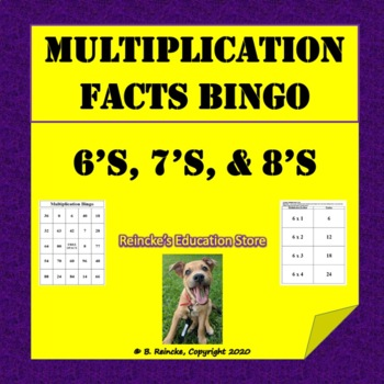 Multiplication Bingo 6's, 7's, and 8's (30 pre-made cards!