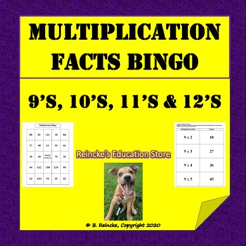 Multiplication Bingo 9's, 10's, 11's, and 12's (30 pre-mad