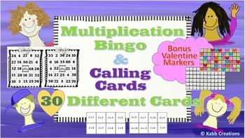 Multiplication Bingo! +Calling Cards & Bonus Valentine Pla