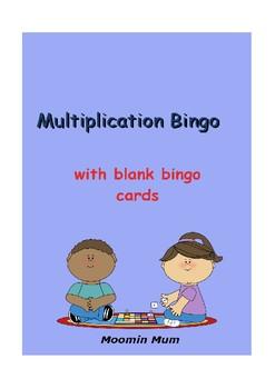 Multiplication Bingo with blank Bingo Cards