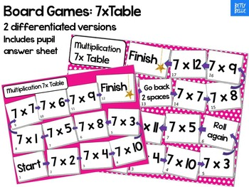 Multiplication Board game 7 x table