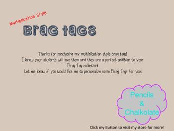 Multiplication Brag Tags award incentive